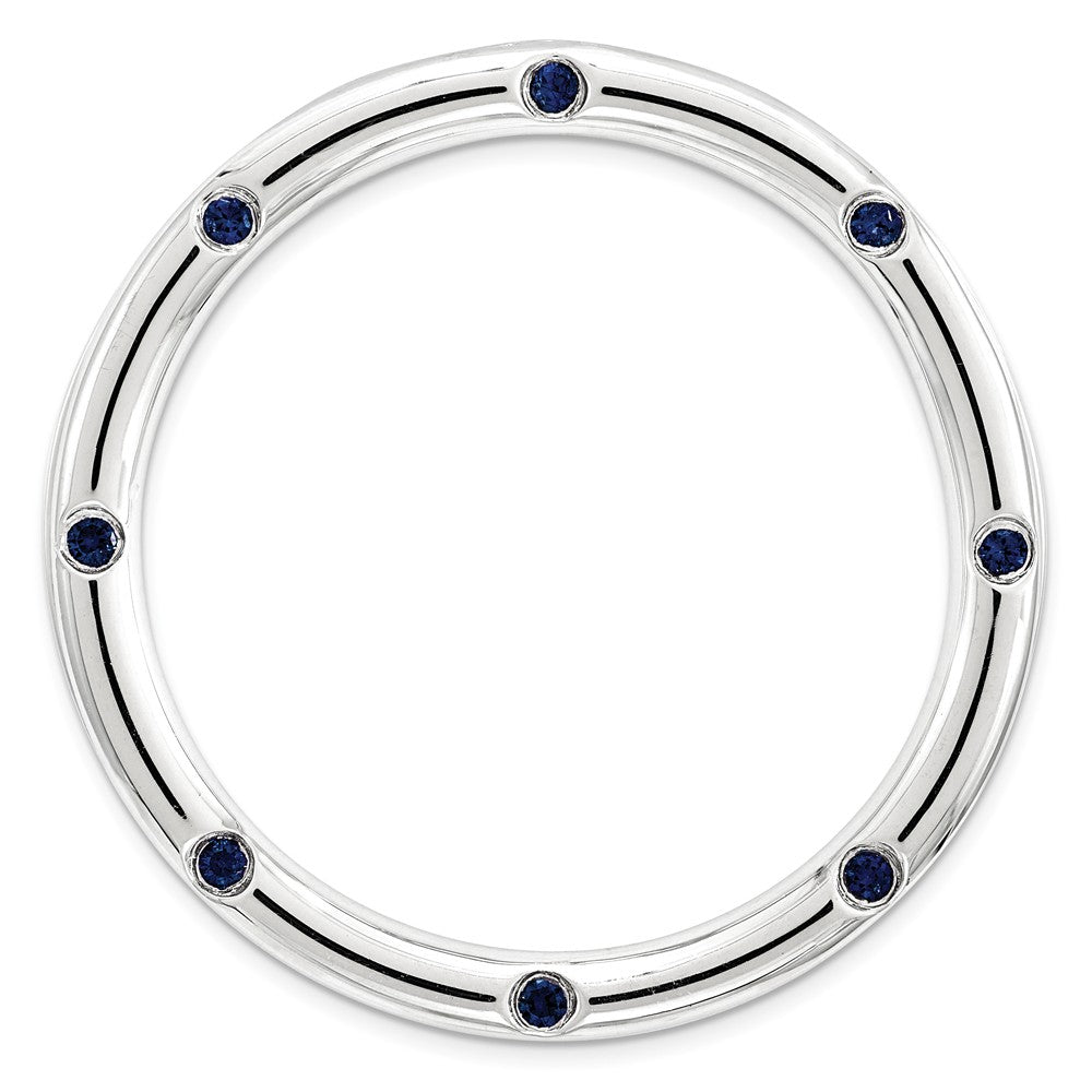 Sterling Silver & Created Blue Sapphire Stackable Large Slide, 29mm