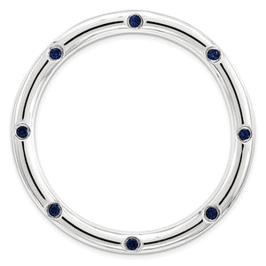 Sterling Silver & Created Blue Sapphire Stackable Large Slide, 29mm - The Black Bow Jewelry Co.