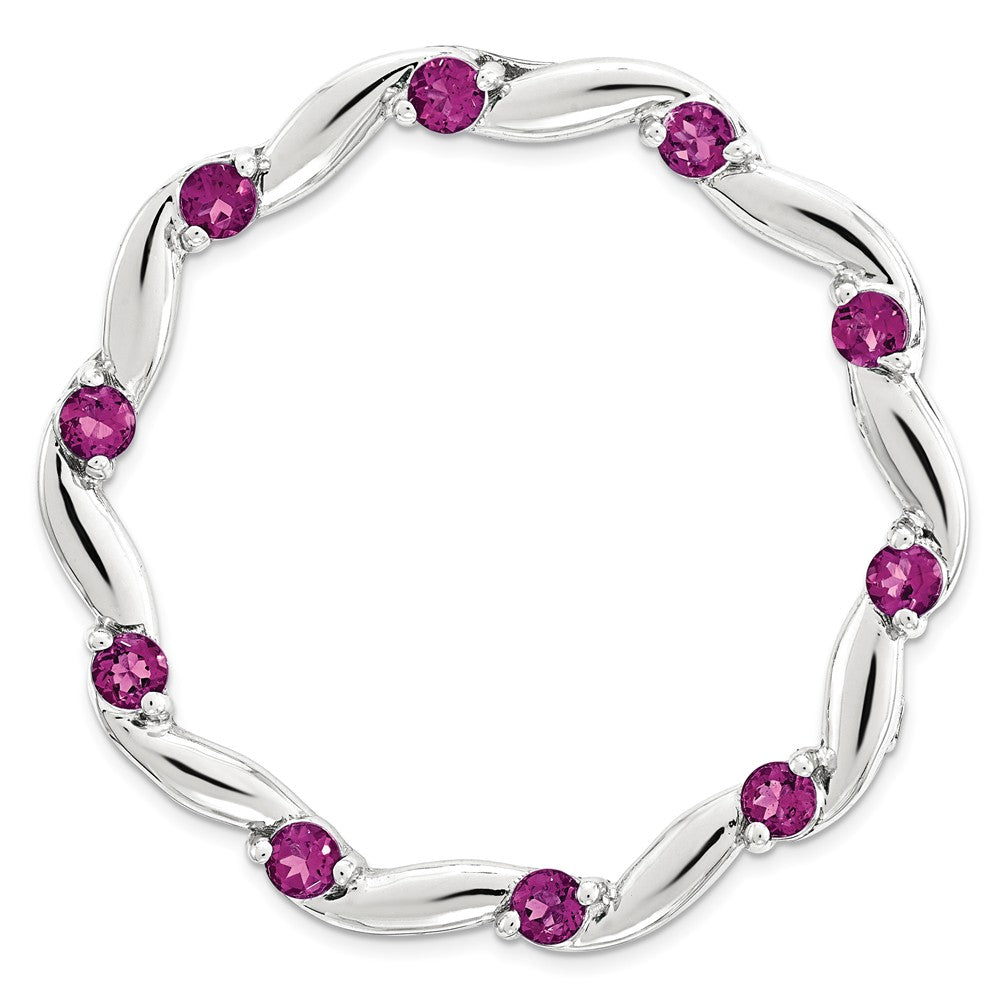 Sterling Silver & Rhodolite Garnet Swirl Stackable Large Slide, 29mm