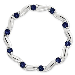 Sterling Silver & Created Blue Sapphire Swirl Stackable Large Slide - The Black Bow Jewelry Co.