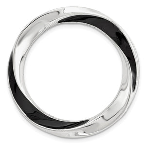Sterling Silver & Black Enamel Stackable Expressions Medium Slide20mm - The Black Bow Jewelry Co.