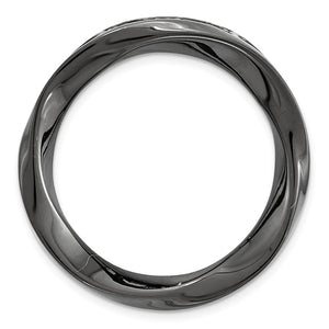 Black Plated Sterling Silver Stackable Medium Twisted Slide, 20mm - The Black Bow Jewelry Co.