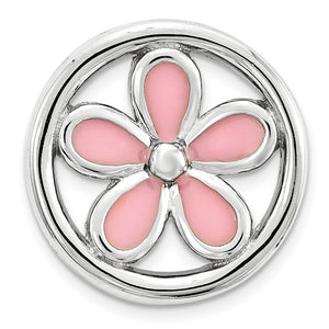 Sterling Silver Enameled Stackable Small Pink Flower Slide, 12mm - The Black Bow Jewelry Co.