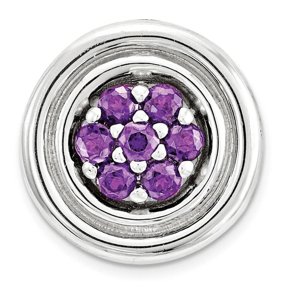 Sterling Silver & Amethyst Stackable Small Cluster Slide, 12mm