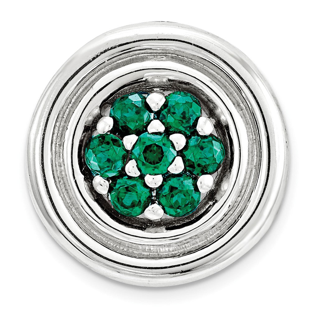 Sterling Silver & Created Emerald Stackable Small Cluster Slide, 12mm