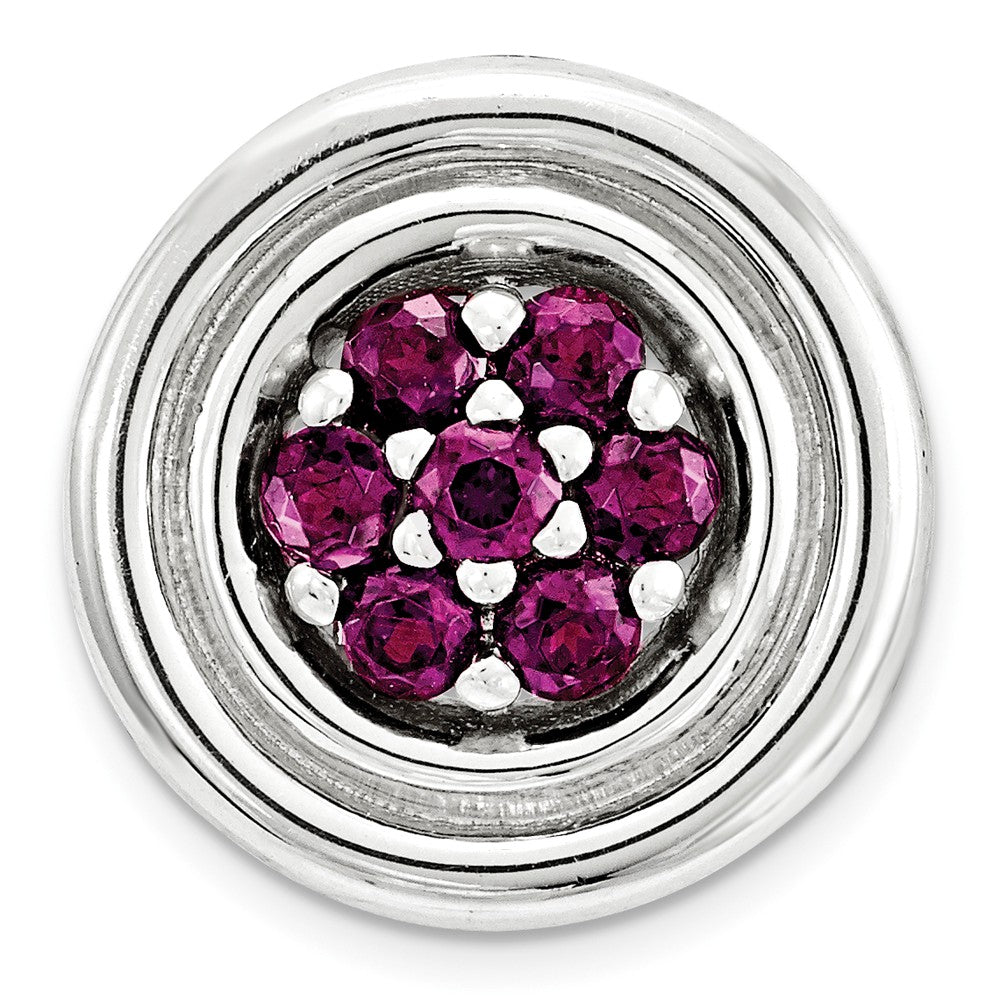 Sterling Silver & Rhodolite Garnet Stackable Small Cluster Slide, 12mm