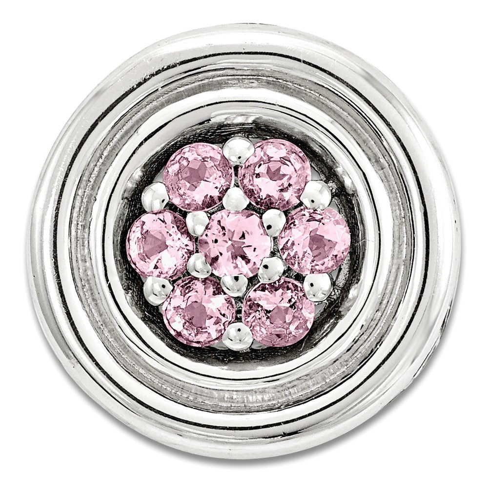Sterling Silver & Cr Pink Sapphire Stackable Small Cluster Slide, 12mm