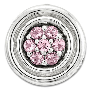 Sterling Silver & Cr Pink Sapphire Stackable Small Cluster Slide, 12mm - The Black Bow Jewelry Co.