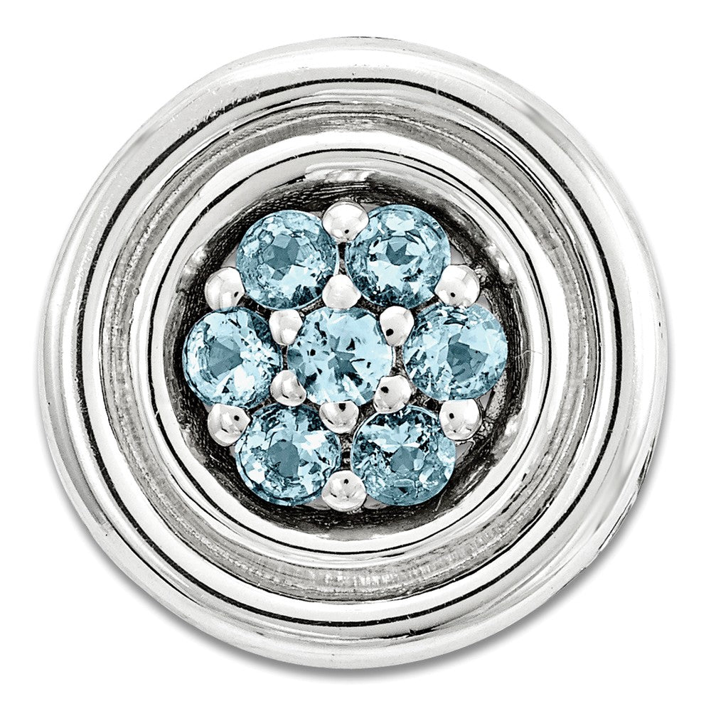 Sterling Silver & Blue Topaz Stackable Small Cluster Slide, 12mm