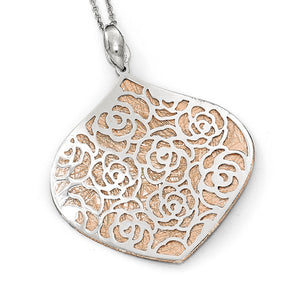 Rhodium & Rose Gold Tone Plated Silver Floral Pendant, 35 x 42mm - The Black Bow Jewelry Co.