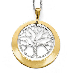 Sterling Silver and Gold Tone Textured Tree Circle Pendant, 38 x 48mm - The Black Bow Jewelry Co.