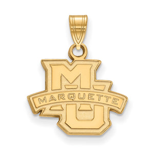 NCAA 10k Yellow Gold Marquette U Small Pendant - The Black Bow Jewelry Co.