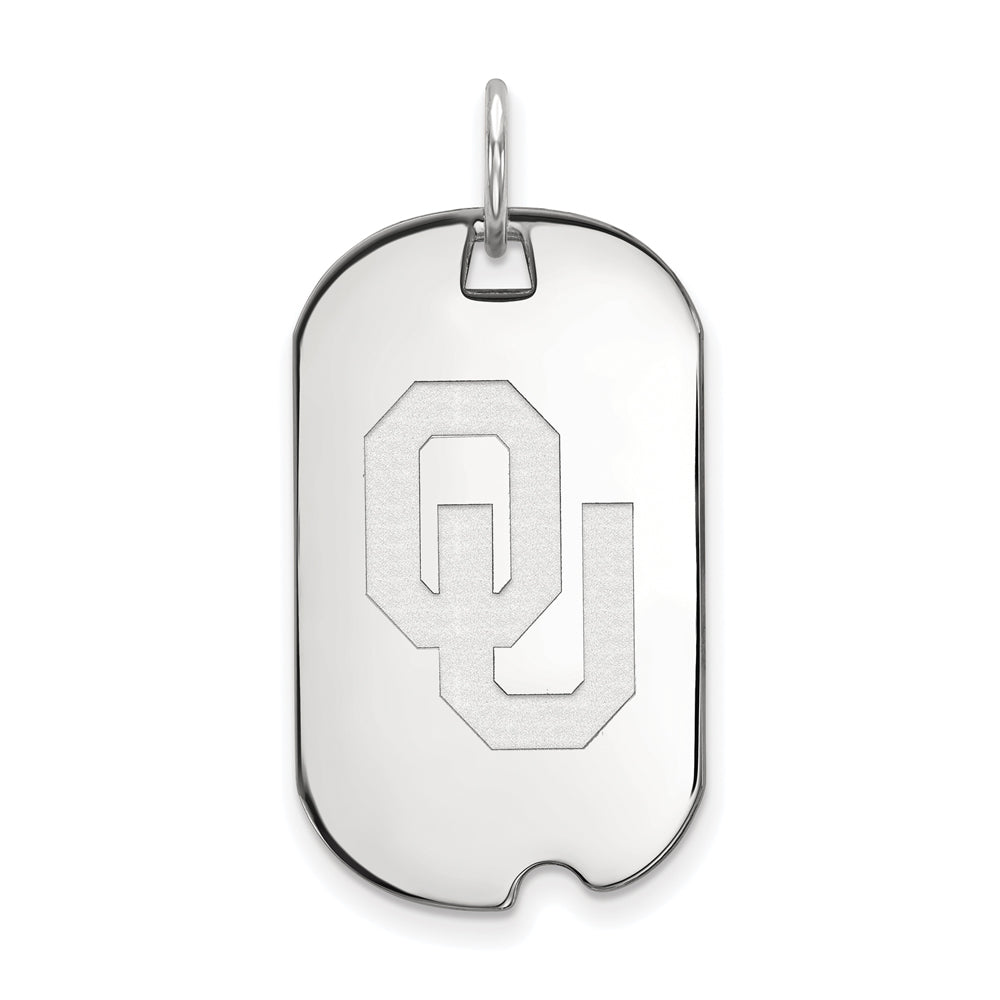 NCAA 14k White Gold U. of Oklahoma Dog Tag Pendant, Item P14471 by The Black Bow Jewelry Co.