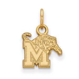 NCAA 14k Yellow Gold U. of Memphis XS Pendant - The Black Bow Jewelry Co.