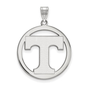 NCAA Sterling Silver U. of Tennessee L Circle Pendant - The Black Bow Jewelry Co.