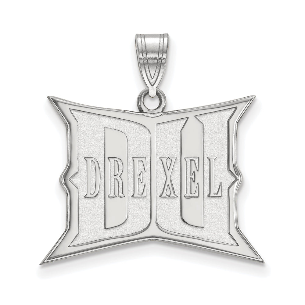 NCAA 10k White Gold Drexel U Large Pendant, Item P15830 by The Black Bow Jewelry Co.