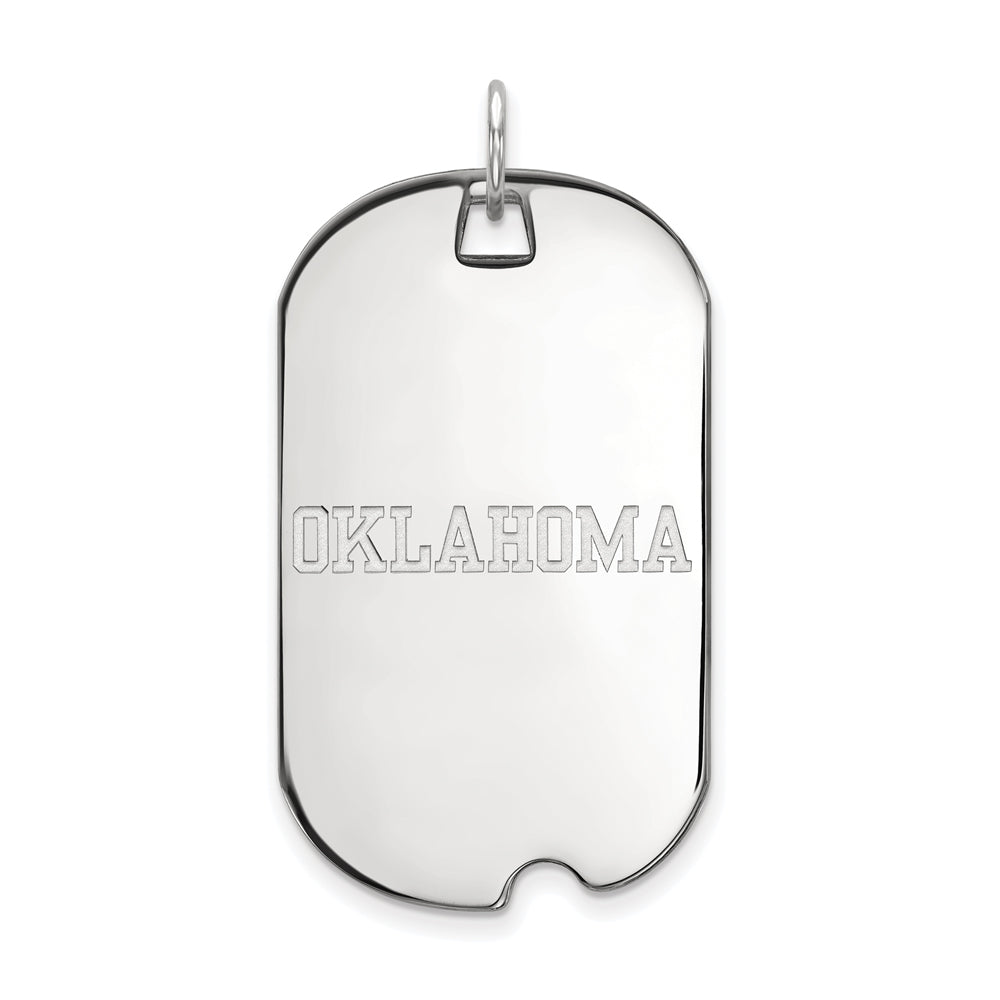 10k White Gold U. of Oklahoma Large Dog Tag Pendant, Item P16022 by The Black Bow Jewelry Co.
