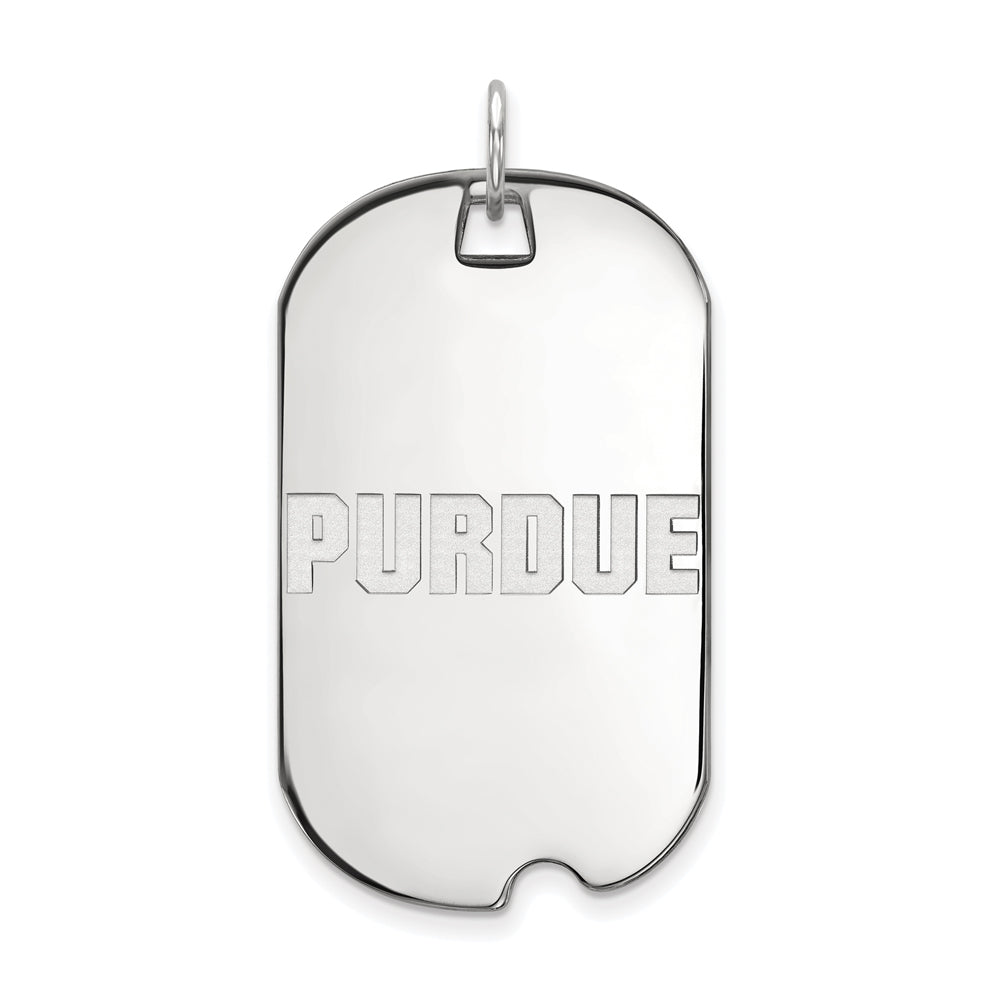 10k White Gold Purdue Large Dog Tag Pendant, Item P16050 by The Black Bow Jewelry Co.