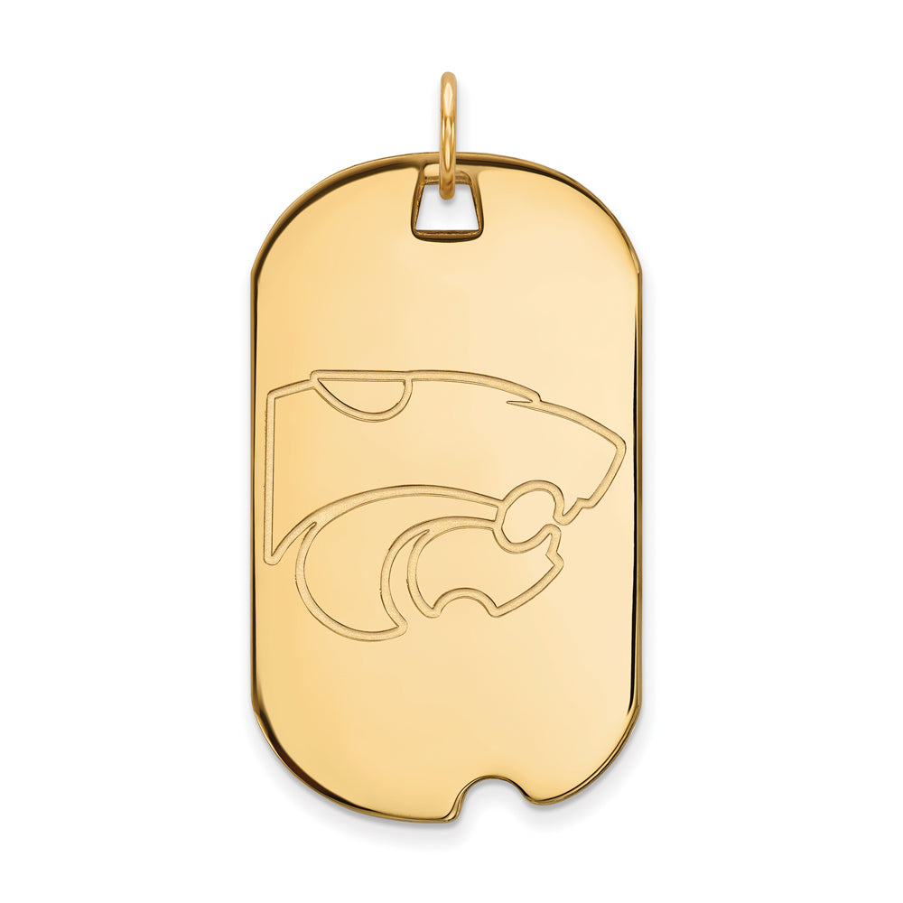10k Yellow Gold Kansas State Large Dog Tag Pendant, Item P16400 by The Black Bow Jewelry Co.