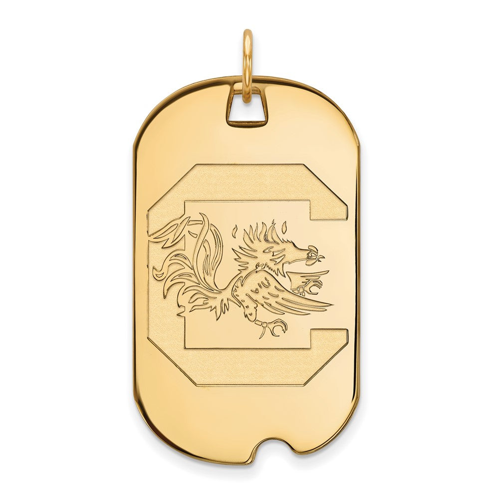 10k Yellow Gold South Carolina Large Dog Tag Pendant, Item P16418 by The Black Bow Jewelry Co.