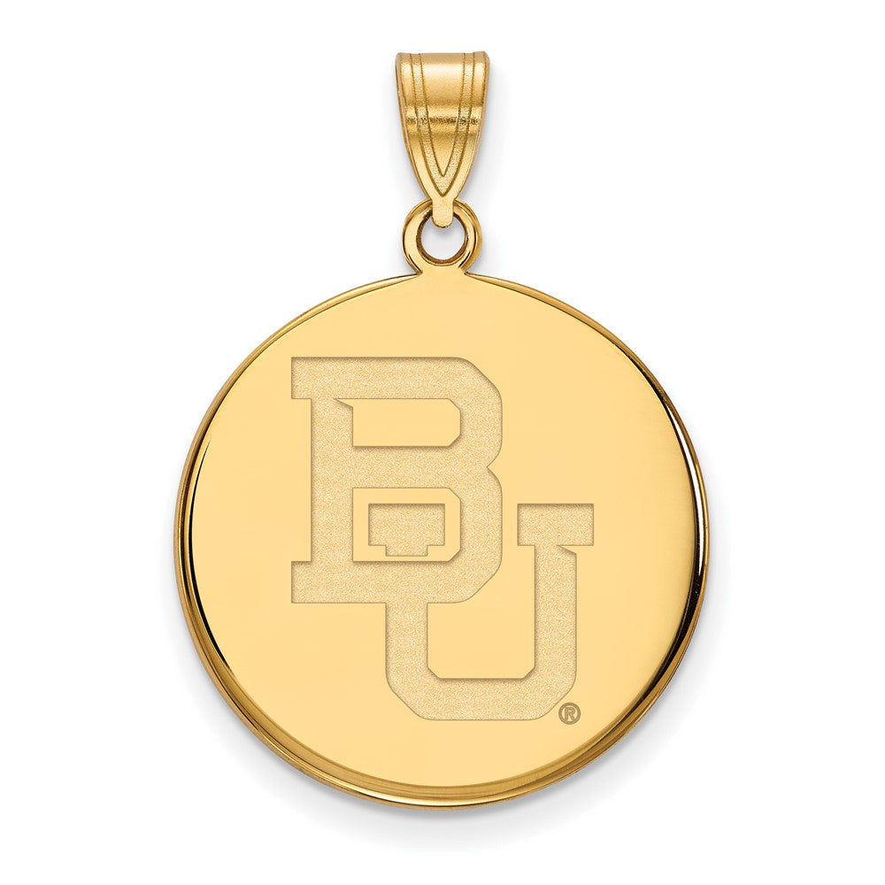 10k Yellow Gold Baylor U Large 'BU' Disc Pendant, Item P16465 by The Black Bow Jewelry Co.