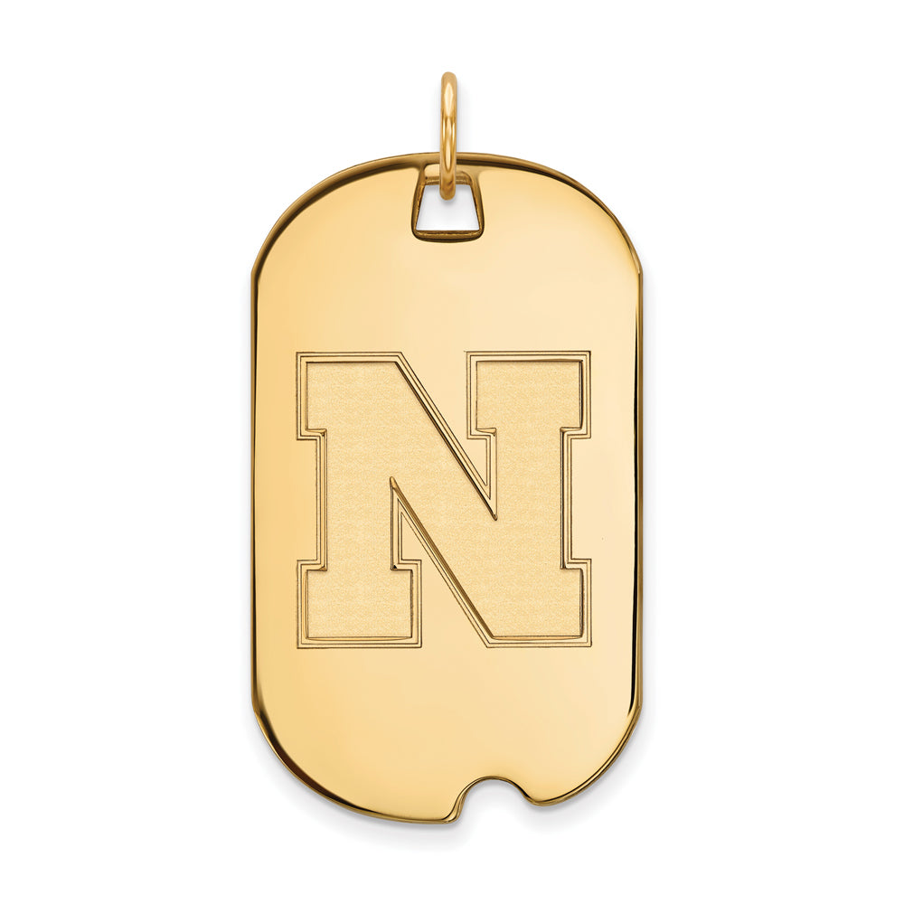 10k Yellow Gold U. of Nebraska Large Dog Tag Pendant, Item P16504 by The Black Bow Jewelry Co.