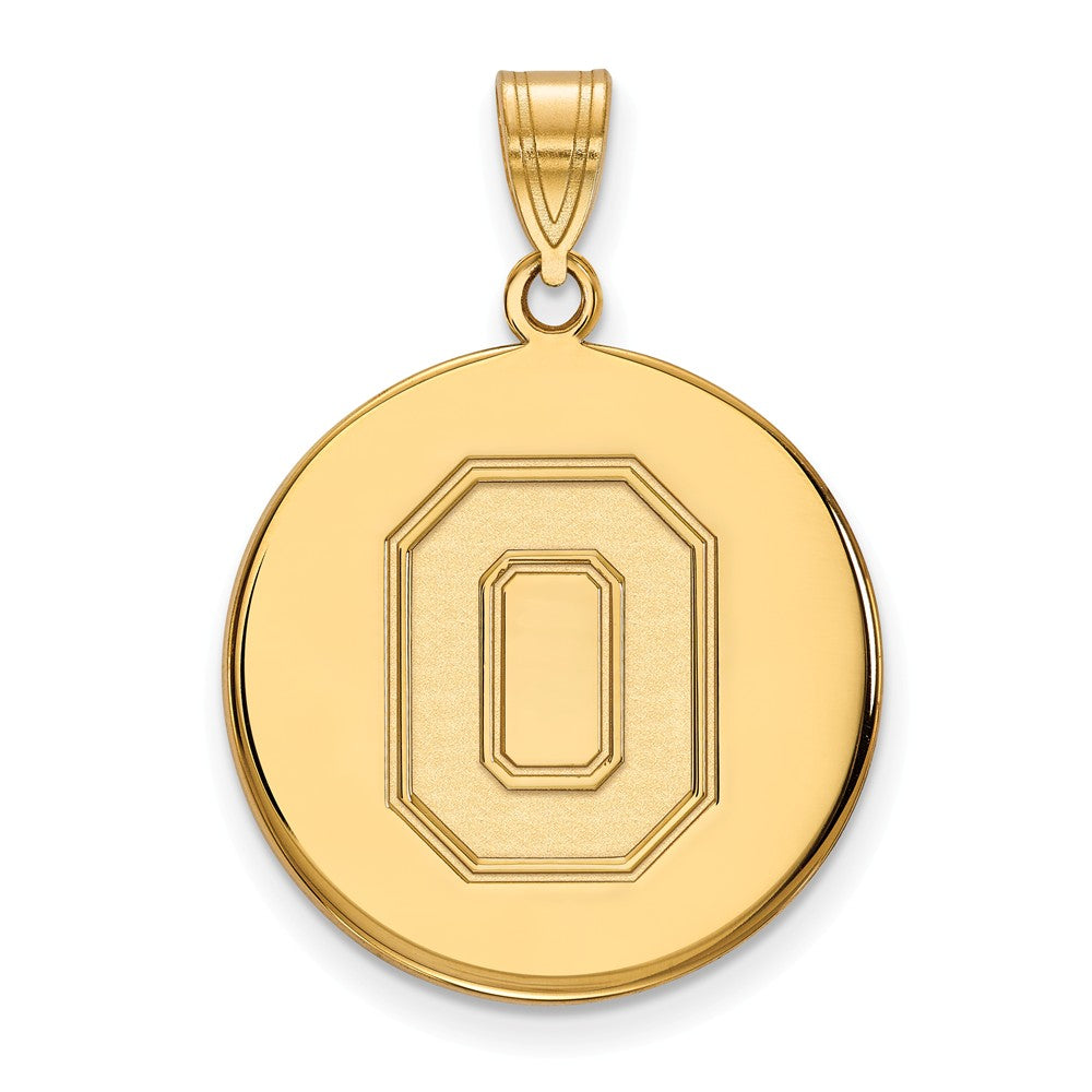 10k Yellow Gold Ohio State Large Disc Pendant, Item P16530 by The Black Bow Jewelry Co.