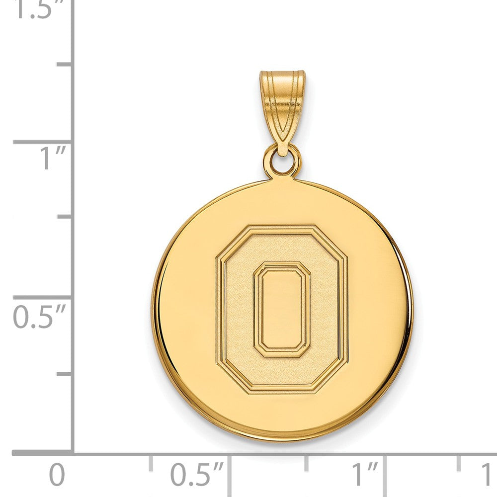 Alternate view of the 10k Yellow Gold Ohio State Large Disc Pendant by The Black Bow Jewelry Co.