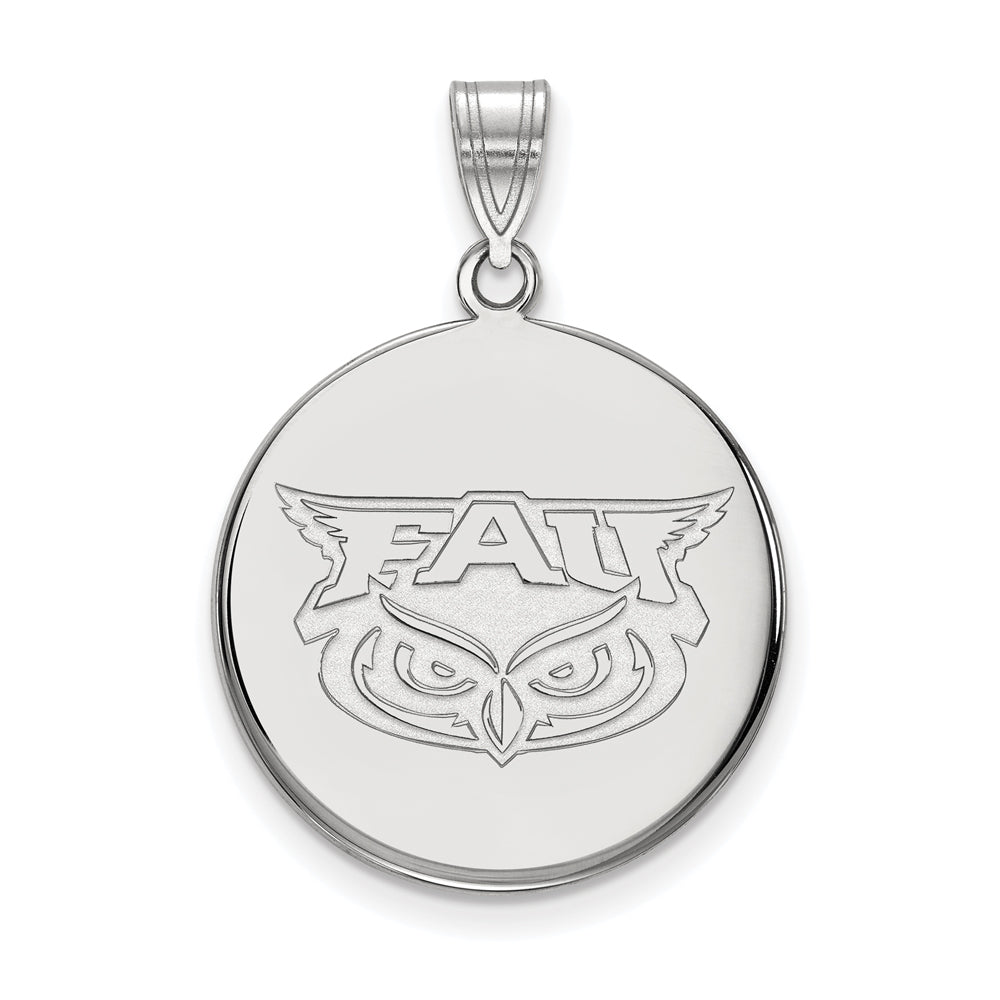 14k White Gold Florida Atlantic Large Disc Pendant, Item P16568 by The Black Bow Jewelry Co.
