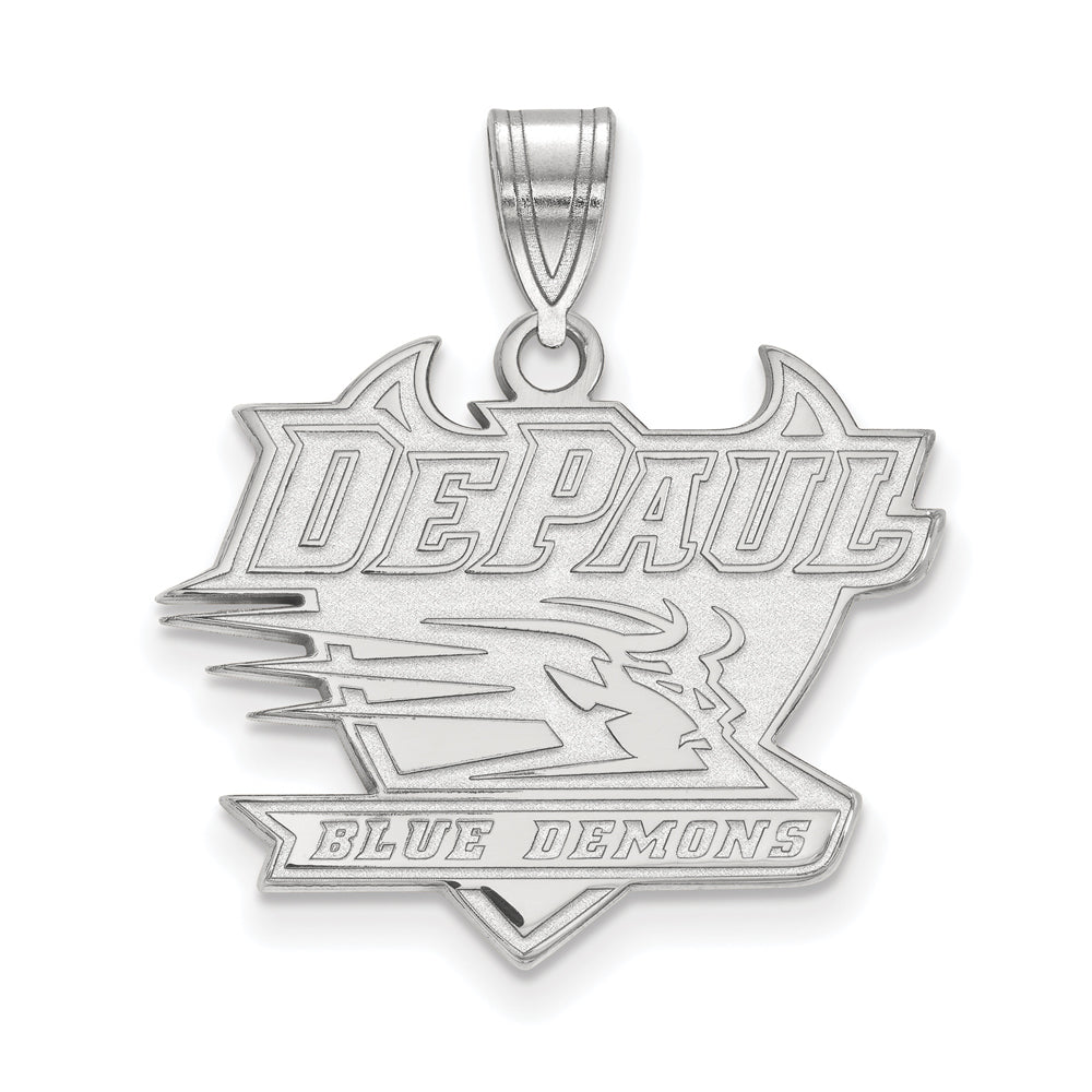 14k White Gold DePaul U Large Pendant, Item P16633 by The Black Bow Jewelry Co.