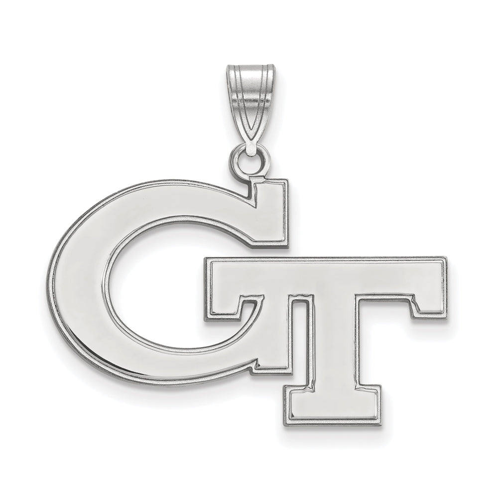 NCAA 14k White Gold Georgia Technology Large Pendant, Item P16638 by The Black Bow Jewelry Co.