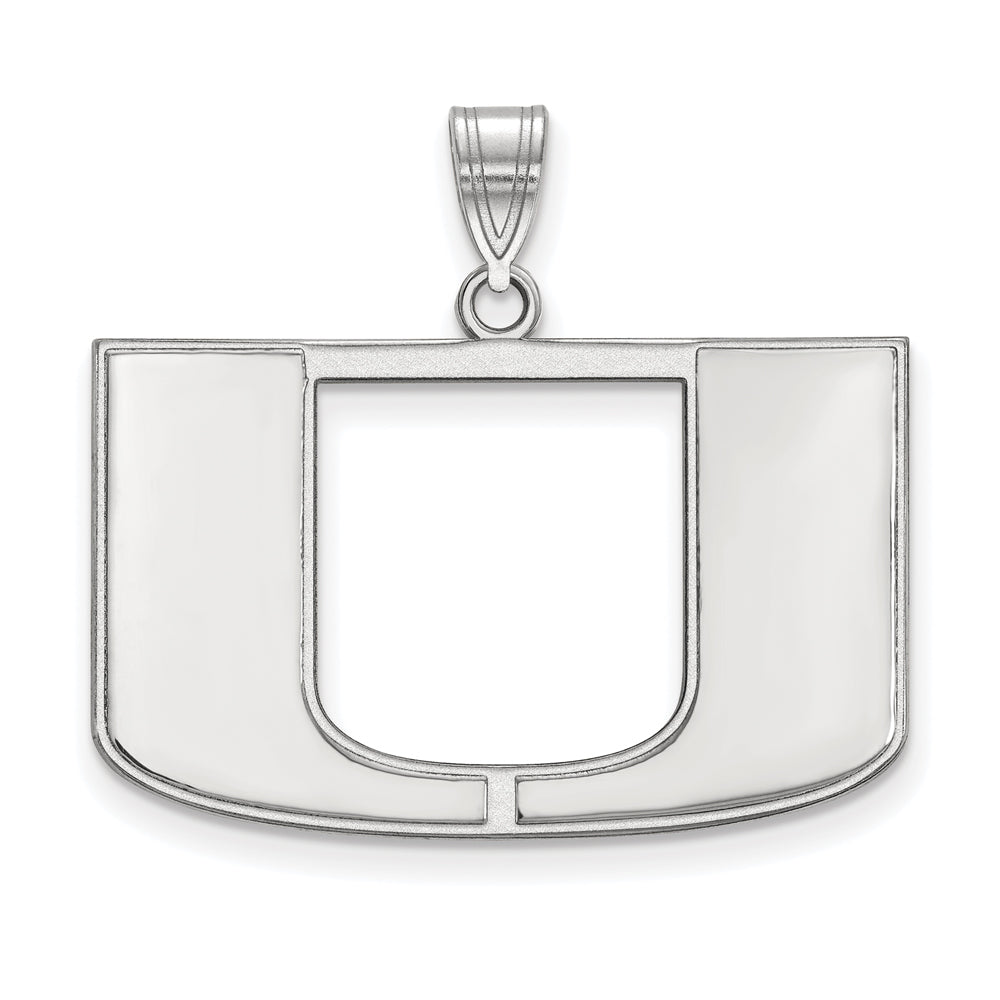 NCAA 14k White Gold U. of Miami Large Pendant, Item P16666 by The Black Bow Jewelry Co.