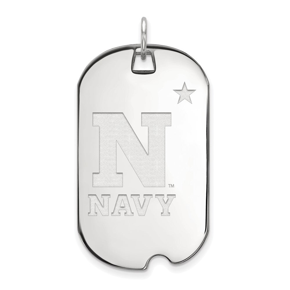 NCAA 14k White Gold Navy Large Dog Tag Pendant, Item P16701 by The Black Bow Jewelry Co.