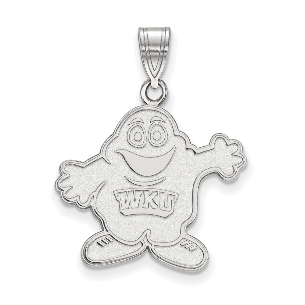 NCAA 14k White Gold Western Kentucky U. Large Pendant, Item P16722 by The Black Bow Jewelry Co.