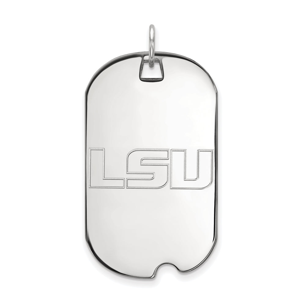 14k White Gold Louisiana State Large Dog Tag Pendant, Item P16728 by The Black Bow Jewelry Co.