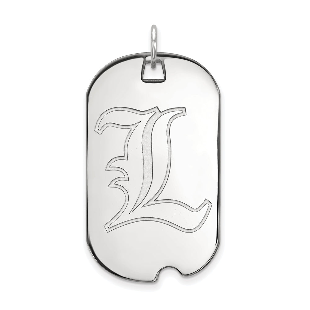 14k White Gold U. of Louisville Large Dog Tag Pendant, Item P16730 by The Black Bow Jewelry Co.