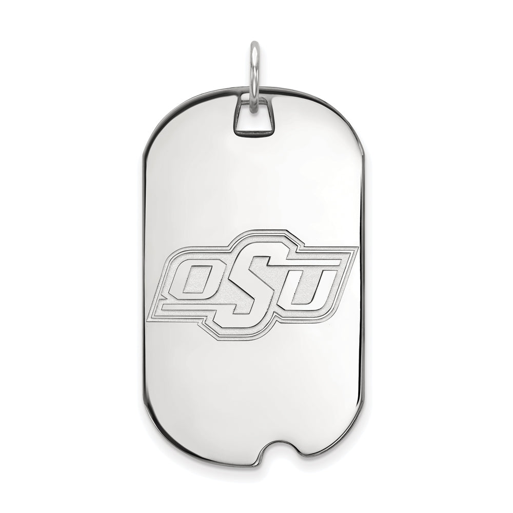 14k White Gold Oklahoma State Large Dog Tag Pendant, Item P16746 by The Black Bow Jewelry Co.
