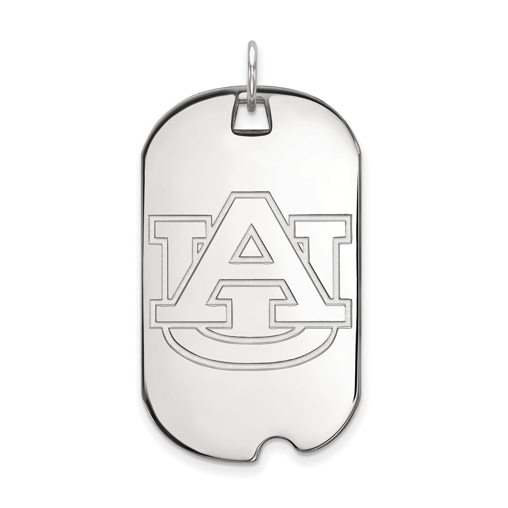 14k White Gold Auburn U Large Dog Tag Pendant, Item P16753 by The Black Bow Jewelry Co.