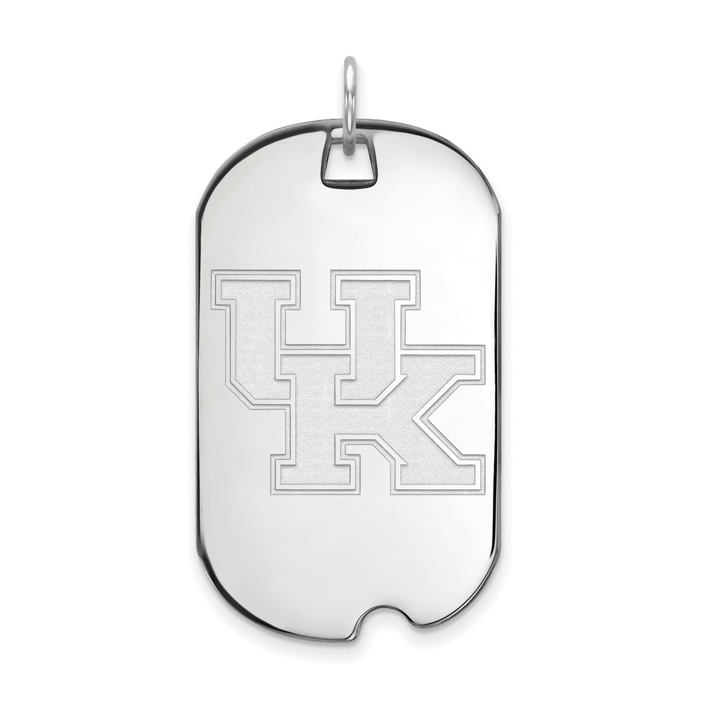 14k White Gold U. of Kentucky Large Dog Tag Pendant, Item P16771 by The Black Bow Jewelry Co.
