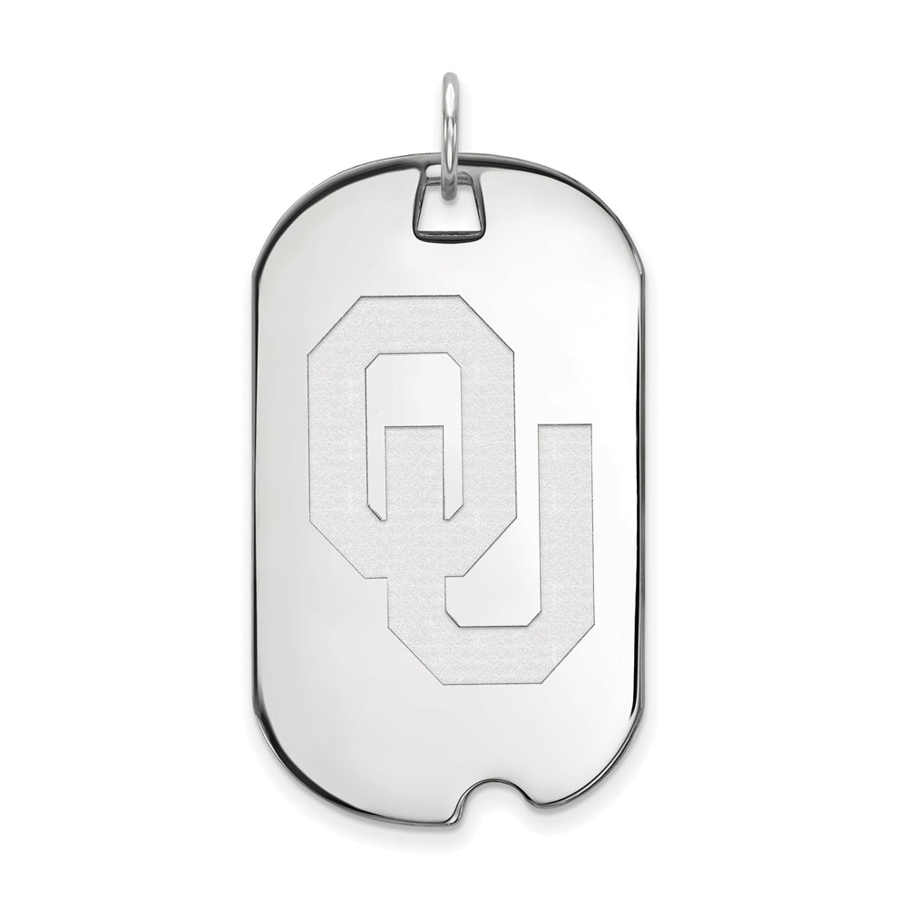 NCAA 14k White Gold U. of Oklahoma Large Dog Tag Pendant, Item P16779 by The Black Bow Jewelry Co.