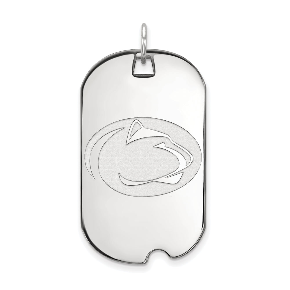 14k White Gold Penn State Large Dog Tag Pendant, Item P16781 by The Black Bow Jewelry Co.