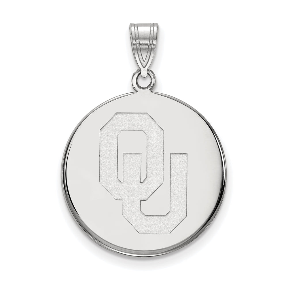 NCAA 14k White Gold U. of Oklahoma Large Disc Pendant, Item P16789 by The Black Bow Jewelry Co.