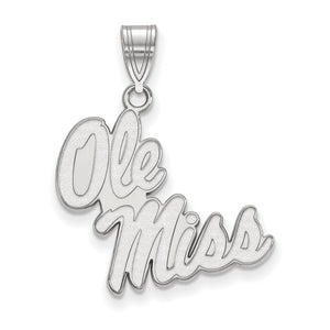 NCAA 14k White Gold U. of Mississippi Large Pendant - The Black Bow Jewelry Co.