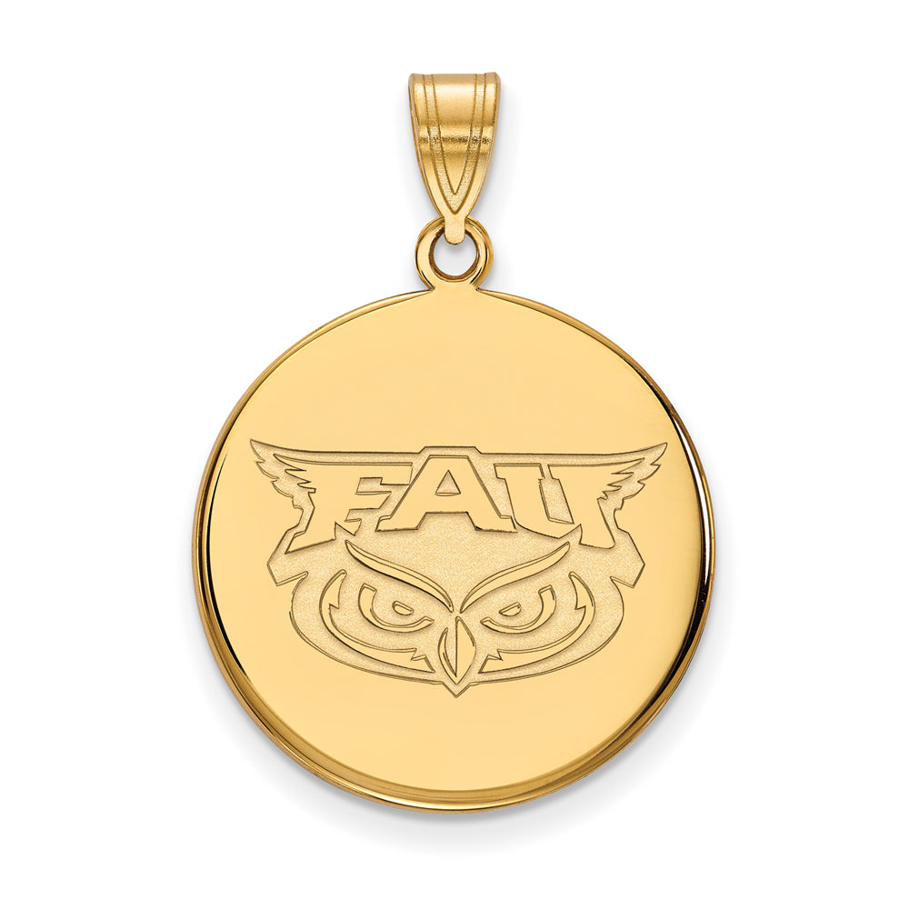 14k Yellow Gold Florida Atlantic Large Disc Pendant, Item P16866 by The Black Bow Jewelry Co.