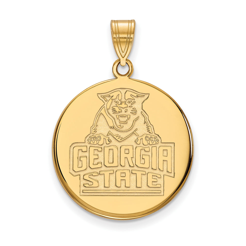 14k Yellow Gold Georgia State Large Disc Pendant, Item P16867 by The Black Bow Jewelry Co.