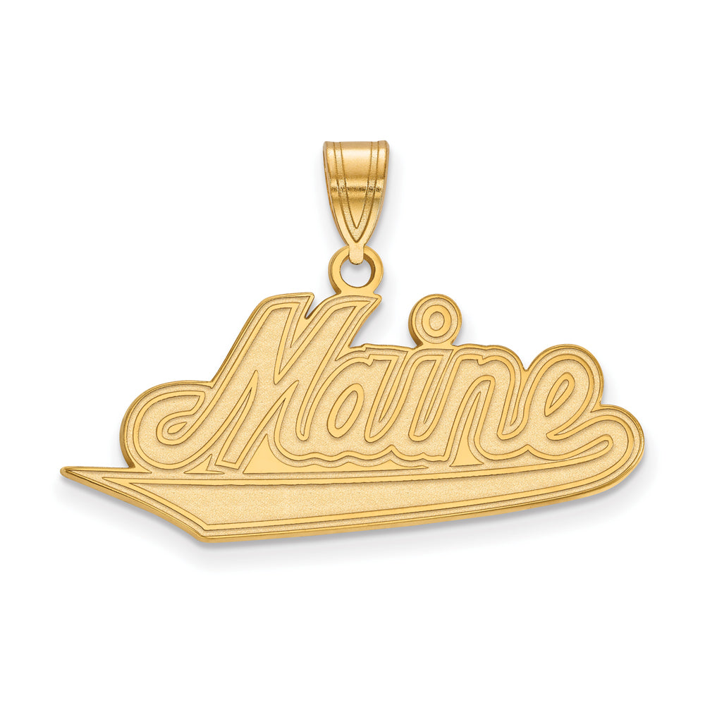 14k Yellow Gold U. of Maine Large Pendant, Item P16942 by The Black Bow Jewelry Co.