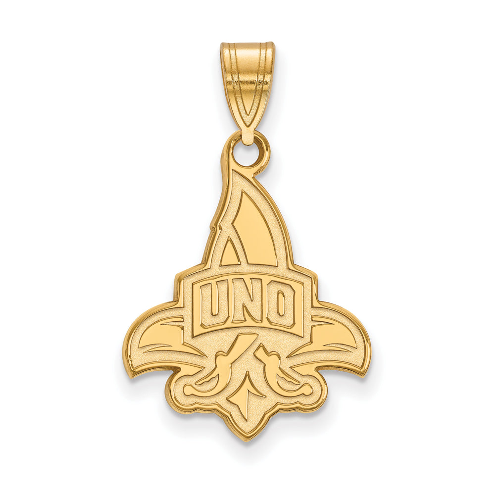 14k Yellow Gold U. of New Orleans Large Pendant, Item P16971 by The Black Bow Jewelry Co.
