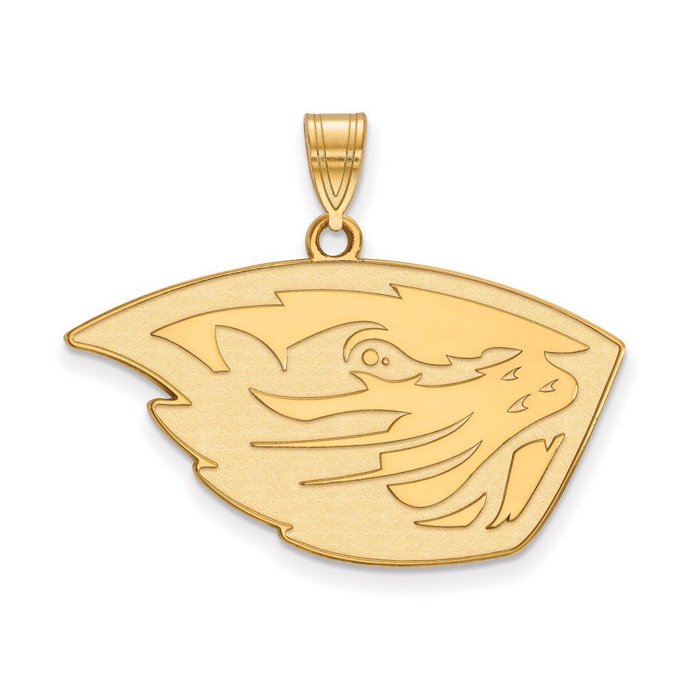 14k Yellow Gold Oregon State Large Pendant, Item P17012 by The Black Bow Jewelry Co.