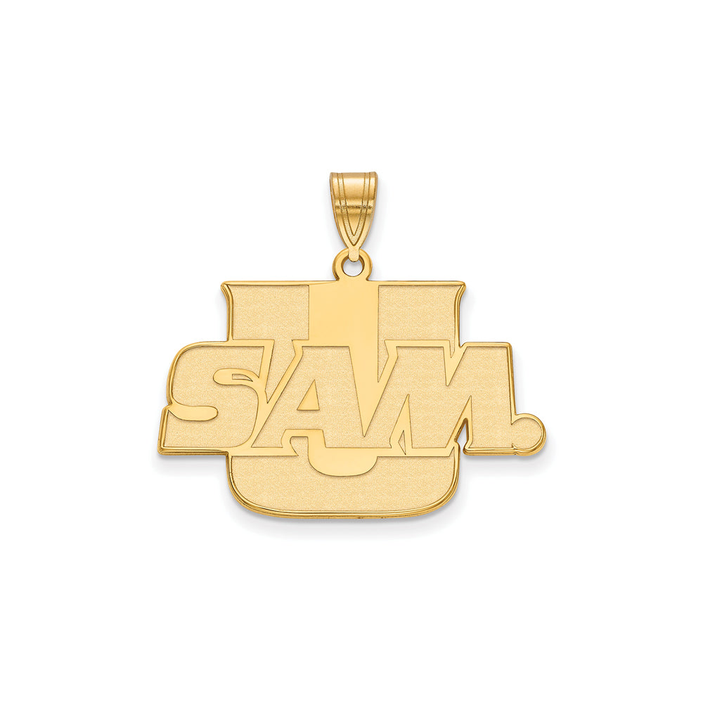 NCAA 14k Yellow Gold Samford U. Large Pendant, Item P17096 by The Black Bow Jewelry Co.