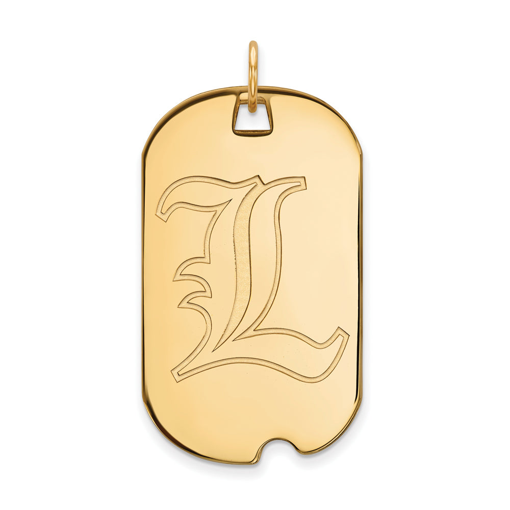 14k Yellow Gold U. of Louisville Large Dog Tag Pendant, Item P17166 by The Black Bow Jewelry Co.